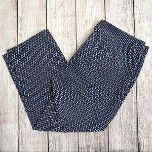 Loft Blue and White Patterned Original Crop Pants